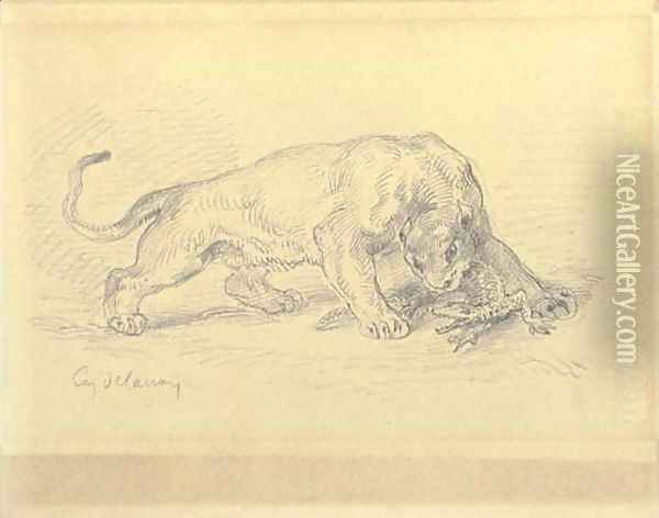 A lioness attacking a crocodile Oil Painting - Eugene Delacroix