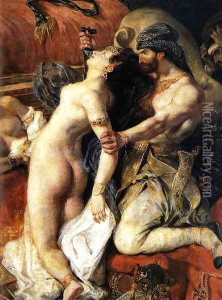 The Death of Sardanapalus (detail) 2 Oil Painting - Eugene Delacroix