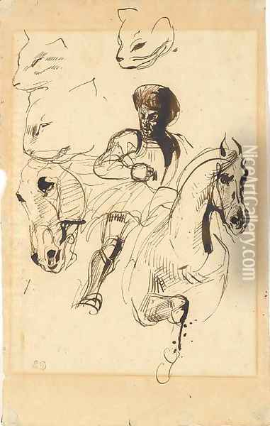 A man in armour on horseback, with studies of a horse's head and cats' heads Oil Painting - Eugene Delacroix