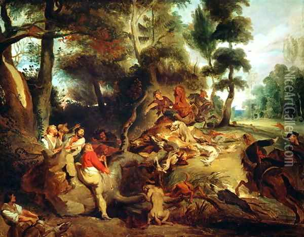 The Wild Boar Hunt after a painting by Rubens 1840 50 Oil Painting - Eugene Delacroix