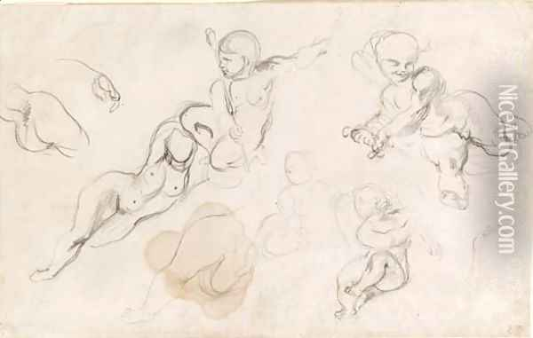 Studies of putti and a female nude Oil Painting - Eugene Delacroix