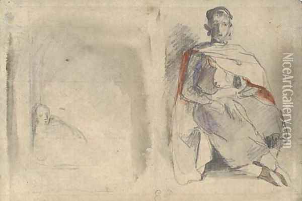 Study of a seated man in oriental dress and study of a figure in a doorway Oil Painting - Eugene Delacroix