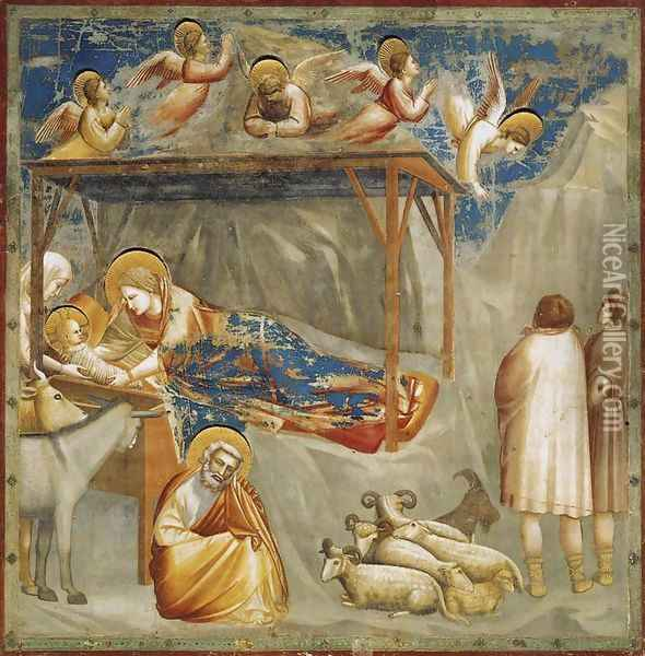 No. 17 Scenes from the Life of Christ- 1. Nativity- Birth of Jesus 1304-06 Oil Painting - Giotto Di Bondone
