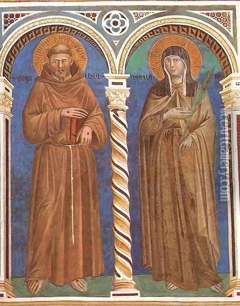Saint Francis and Saint Clare 1279-1300 Oil Painting - Giotto Di Bondone