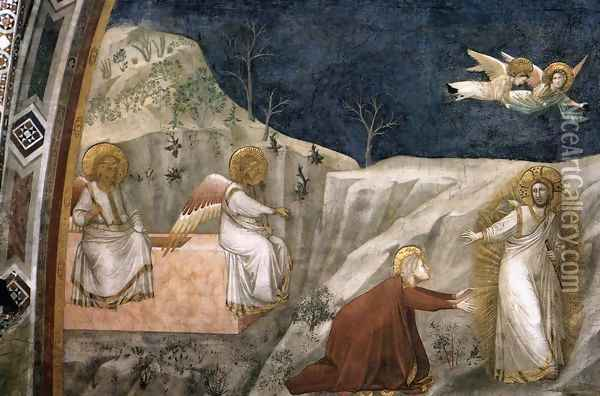 Scenes from the Life of Mary Magdalene- Noli me tangere 1320s Oil Painting - Giotto Di Bondone