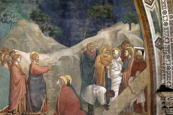 Scenes from the Life of Mary Magdalene- Raising of Lazarus 1320s Oil Painting - Giotto Di Bondone