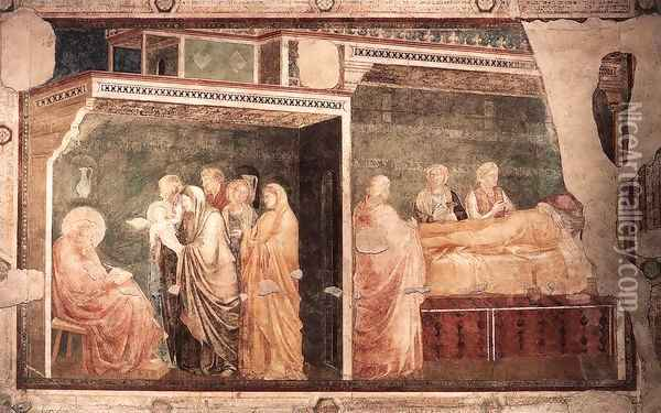 Scenes from the Life of St John the Baptist- 2. Birth and Naming of the Baptist, 1320 Oil Painting - Giotto Di Bondone