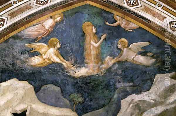 Scenes from the Life of Mary Magdalene- Mary Magdalene Speaking to the Angels 1320 Oil Painting - Giotto Di Bondone