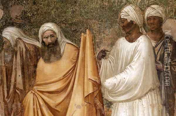 Scenes from the Life of Saint Francis- 6. St Francis before the Sultan (detail) 1325 Oil Painting - Giotto Di Bondone