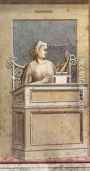 No. 40 The Seven Virtues- Prudence 1306 Oil Painting - Giotto Di Bondone