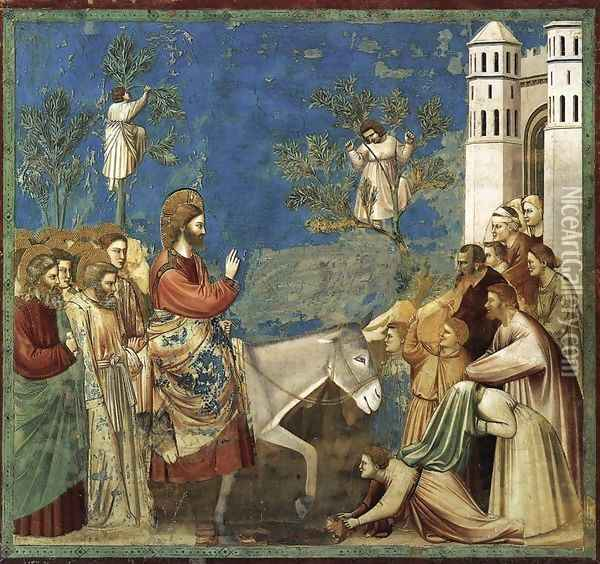 No. 26 Scenes from the Life of Christ- 10. Entry into Jerusalem 1304-06 Oil Painting - Giotto Di Bondone
