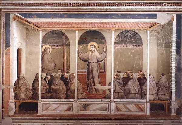 Scenes from the Life of Saint Francis- 3. Apparition at Arles 1325 Oil Painting - Giotto Di Bondone