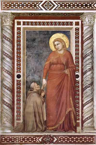 Scenes from the Life of Mary Magdalene- Mary Magdalene and Cardinal Pontano 1320s Oil Painting - Giotto Di Bondone