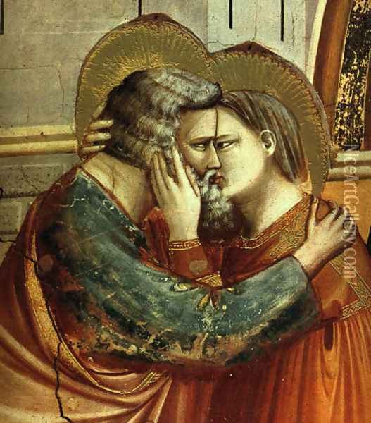 No. 6 Scenes from the Life of Joachim- 6. Meeting at the Golden Gate (detail 2) 1304 Oil Painting - Giotto Di Bondone