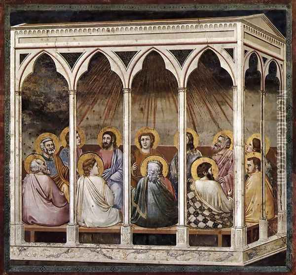 No. 39 Scenes from the Life of Christ- 23. Pentecost 1304-06 Oil Painting - Giotto Di Bondone