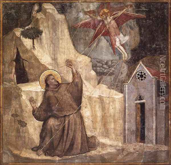Scenes from the Life of Saint Francis- 1. Stigmatisation of Saint Francis 1325 Oil Painting - Giotto Di Bondone