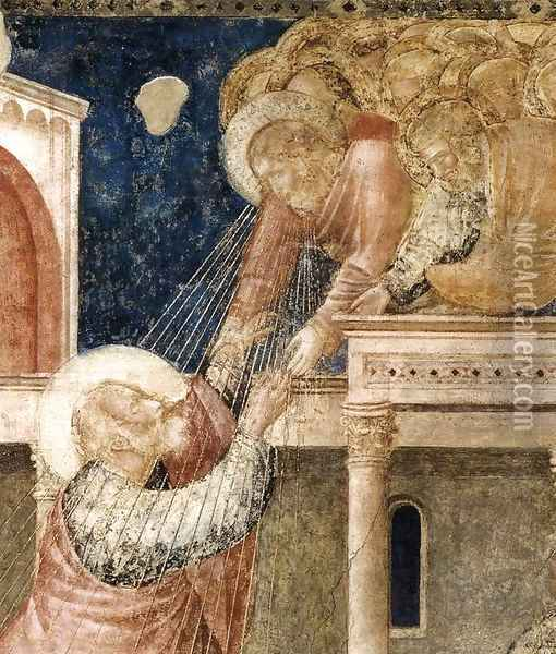 Scenes from the Life of St John the Evangelist- 3. Ascension of the Evangelist (detail) 1320 Oil Painting - Giotto Di Bondone