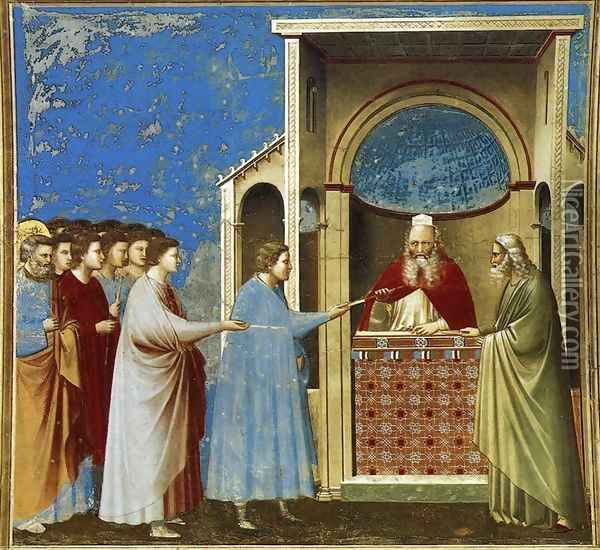 No. 9 Scenes from the Life of the Virgin- 3. The Bringing of the Rods to the Temple 1304 Oil Painting - Giotto Di Bondone