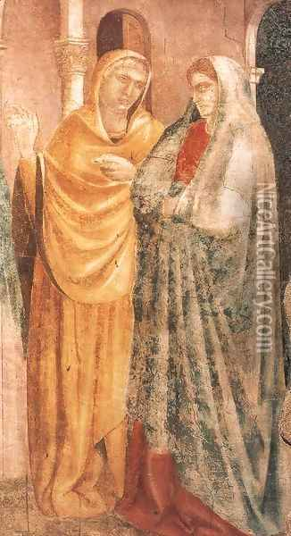 Scenes from the Life of St John the Baptist- 1. Annunciation to Zacharias (detail) 1320 Oil Painting - Giotto Di Bondone