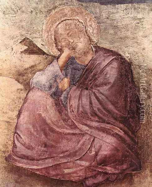 Scenes from the Life of St John the Evangelist- 1. St John on Patmos (detail) 1320 Oil Painting - Giotto Di Bondone