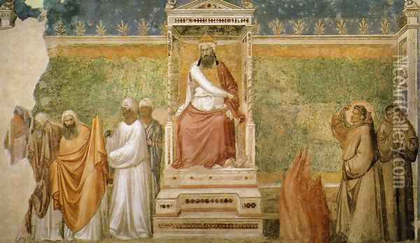 Scenes from the Life of Saint Francis- 6. St Francis before the Sultan (Trial by Fire) 1325 Oil Painting - Giotto Di Bondone