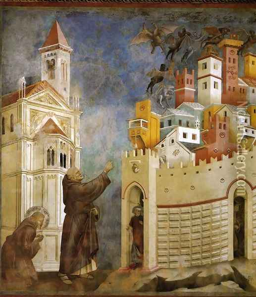 Legend of St Francis- 10. Exorcism of the Demons at Arezzo 1297-99 Oil Painting - Giotto Di Bondone