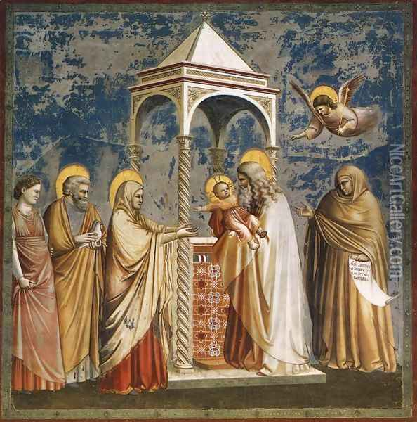 No. 19 Scenes from the Life of Christ- 3. Presentation of Christ at the Temple 1304 Oil Painting - Giotto Di Bondone