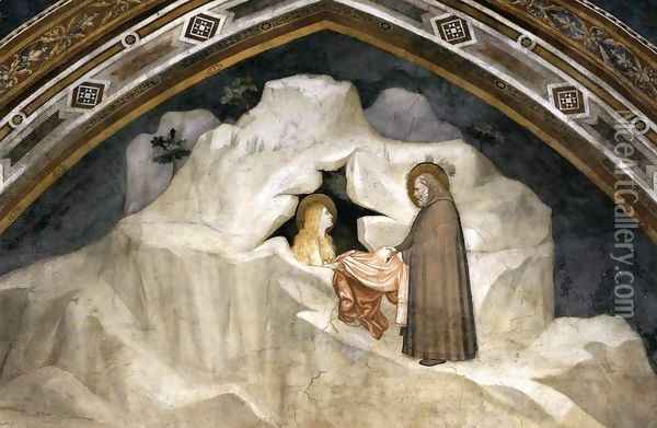 Scenes from the Life of Mary Magdalene- The Hermit Zosimus Giving a Cloak to Magdalene 1320 Oil Painting - Giotto Di Bondone