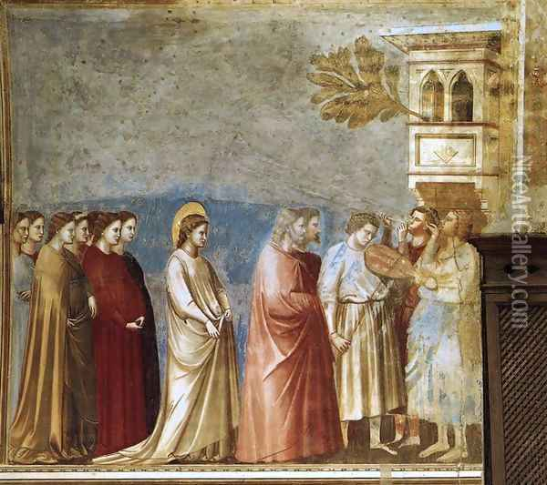 No. 12 Scenes from the Life of the Virgin- 6. Wedding Procession 1304-06 Oil Painting - Giotto Di Bondone