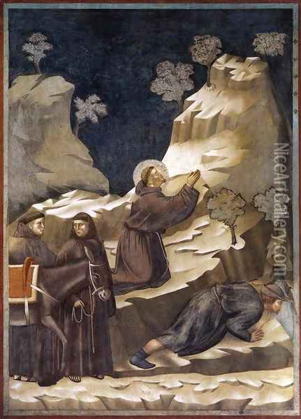Legend of St Francis- 14. Miracle of the Spring 1297-1300 Oil Painting - Giotto Di Bondone