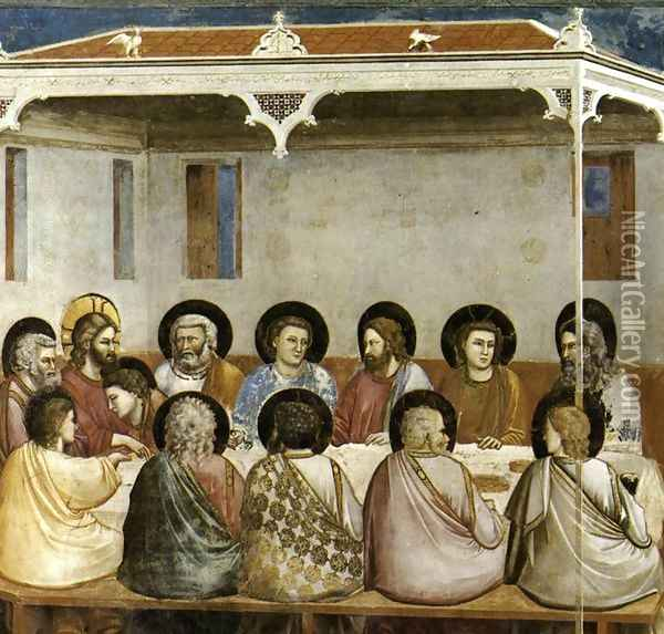 No. 29 Scenes from the Life of Christ- 13. Last Supper 1304-06 Oil Painting - Giotto Di Bondone