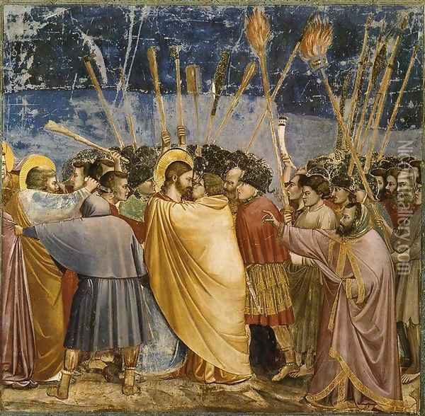 No. 31 Scenes from the Life of Christ- 15. The Arrest of Christ (Kiss of Judas) 1304-06 Oil Painting - Giotto Di Bondone