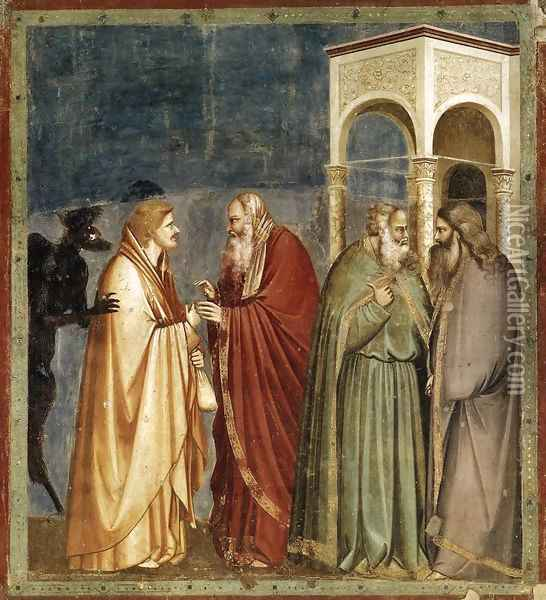 No. 28 Scenes from the Life of Christ- 12. Judas' Betrayal 1304-06 Oil Painting - Giotto Di Bondone