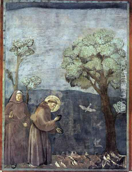 Legend of St Francis- 15. Sermon to the Birds 1297-99 Oil Painting - Giotto Di Bondone
