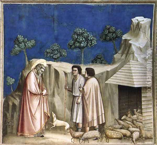 No. 2 Scenes from the Life of Joachim- 2. Joachim among the Shepherds 1304-06 Oil Painting - Giotto Di Bondone