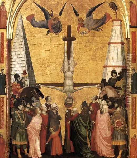 The Stefaneschi Triptych- Martyrdom of Peter c. 1330 Oil Painting - Giotto Di Bondone