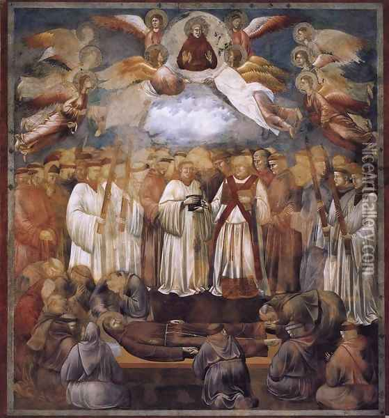 Legend of St Francis- 20. Death and Ascension of St Francis 1300 Oil Painting - Giotto Di Bondone