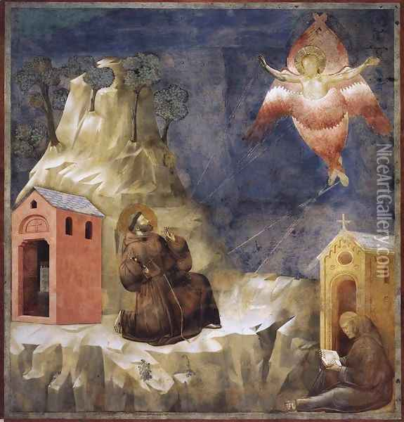 Legend of St Francis- 19. Stigmatization of St Francis 1297-1300 Oil Painting - Giotto Di Bondone