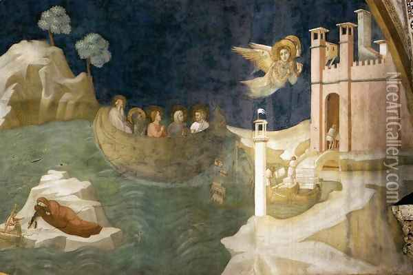 Scenes from the Life of Mary Magdalene- Mary Magdalene's Voyage to Marseilles 1320 Oil Painting - Giotto Di Bondone