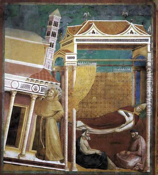 Legend of St Francis- 6. Dream of Innocent III 1297-99 Oil Painting - Giotto Di Bondone