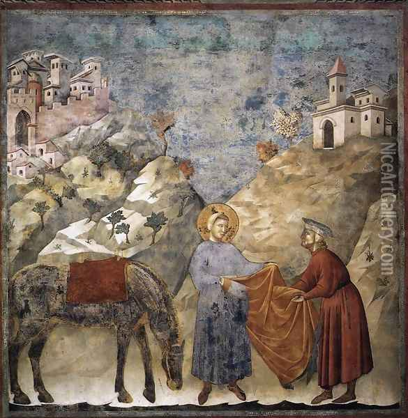 Legend of St Francis- 2. St Francis Giving his Mantle to a Poor Man 1297-99 Oil Painting - Giotto Di Bondone