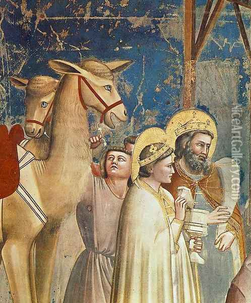 No. 18 Scenes from the Life of Christ- 2. Adoration of the Magi (detail) 1304-06 Oil Painting - Giotto Di Bondone