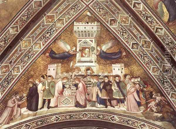 Franciscan Allegories-Allegory of Chastity c. 1330 Oil Painting - Giotto Di Bondone