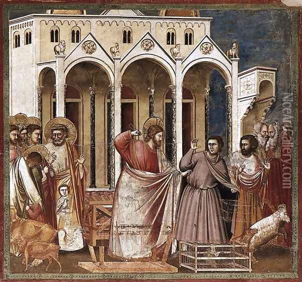 No. 27 Scenes from the Life of Christ- 11. Expulsion of the Money-changers from the Temple 1304 Oil Painting - Giotto Di Bondone
