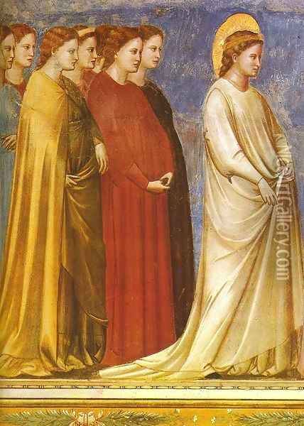 No. 12 Scenes from the Life of the Virgin- 6. Wedding Procession (detail 2) 1304-06 Oil Painting - Giotto Di Bondone