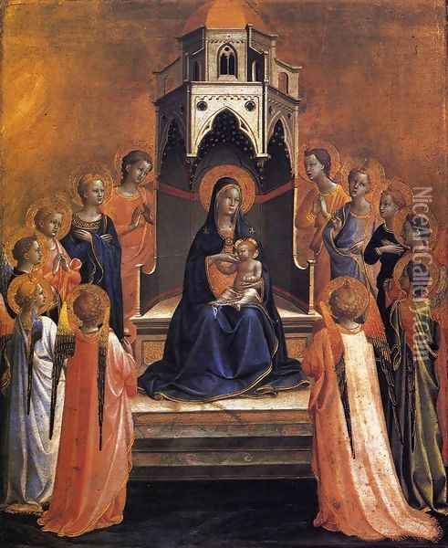 Virgin and Child Enthroned with Twelve Angels Oil Painting - Giotto Di Bondone