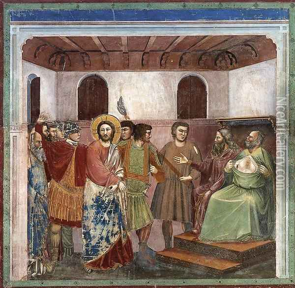 No. 32 Scenes from the Life of Christ- 16. Christ before Caiaphas 1304-06 Oil Painting - Giotto Di Bondone