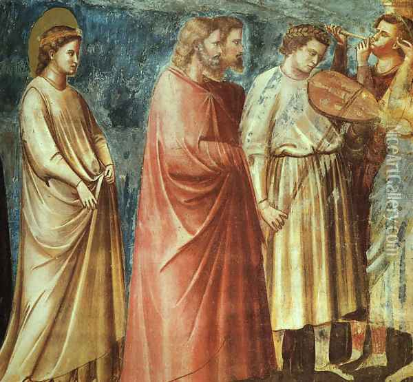 No. 12 Scenes from the Life of the Virgin- 6. Wedding Procession (detail 1) 1304-06 Oil Painting - Giotto Di Bondone
