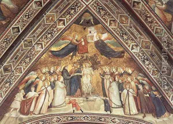 Franciscan Allegories- Allegory of Poverty c. 1330 Oil Painting - Giotto Di Bondone