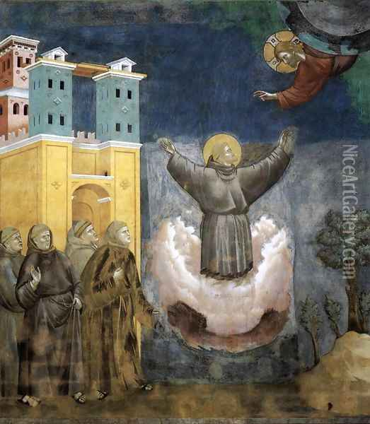 Legend of St Francis- 12. Ecstasy of St Francis 1297-1300 Oil Painting - Giotto Di Bondone